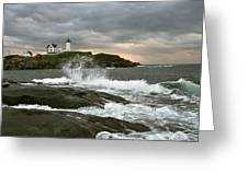 Nubble Light In A Storm Greeting Card by Rick Frost