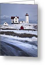Nubble Lighthouse  Greeting Card by Eric Gendron