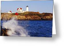 Nubble Lighthouse in Daylight Greeting Card by Jeremy Woodhouse