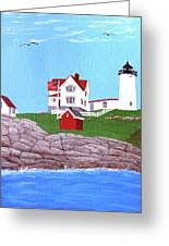 Nubble Lighthouse Painting Greeting Card by Frederic Kohli