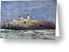 Nubble Lighthouse Greeting Card by Sharon Farber