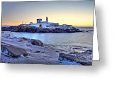 Nubble Sunrise Greeting Card by Susan Cole Kelly
