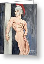 Nude Male Spartan Greeting Card by The Artist Dana