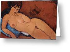 Nude on a Blue Cushion Greeting Card by Amedeo Modigliani