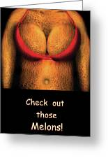 Nudist - Check Out Those Melons - Nudist Grocer Greeting Card by Mike Savad