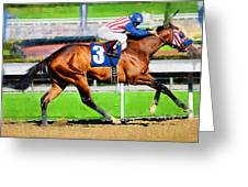 Number Three Horse Greeting Card by Clarence Alford