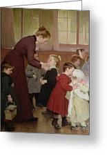 Nursery School Greeting Card by Hneri Jules Jean Geoffroy