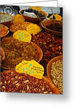 Nuts, Dried Fruits And Vegetables Greeting Card by Anne Keiser