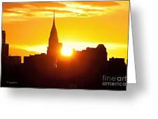 Ny Chrysler Building Sunrise Greeting Card by Regina Geoghan