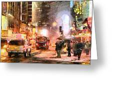 Nyc At Night Greeting Card by Anthony Caruso