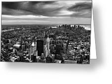 Nyc Manhattan Panorama Greeting Card by Nina Papiorek