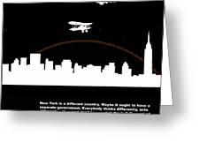 NYC Night Poster Greeting Card by Naxart Studio