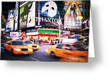 NYC Taxi Taxi Greeting Card by Nina Papiorek