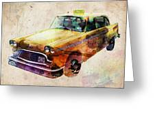 Nyc Yellow Cab Greeting Card by Michael Tompsett