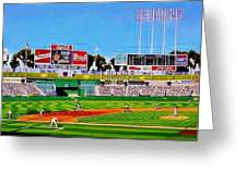 Oakland Coliseum Greeting Card by T Kolendera