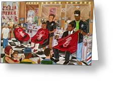 Obama At The Barber Greeting Card by Mccormick  Arts