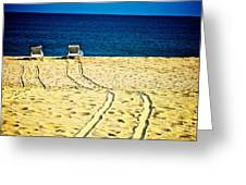 Ocean Front Row Greeting Card by Matthew Keoki Miller