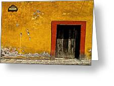 Ochre Wall With Red Door Greeting Card by Olden Mexico