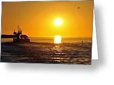 Ocracoke Sunset Greeting Card by Josh Craig
