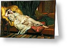 Odalisque With A Lute Greeting Card by Hippolyte Berteaux