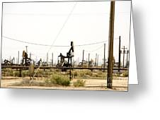 Oil Rigs, Lebec, Mojave Desert, California Greeting Card by Paul Edmondson