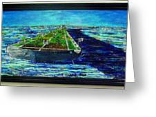 Oil Tanker Island Greeting Card by Samuel Miller