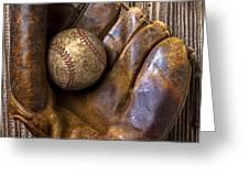 Old baseball mitt and ball Greeting Card by Garry Gay