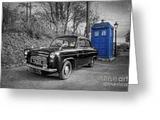 Old British Police Car And Tardis Greeting Card by Yhun Suarez