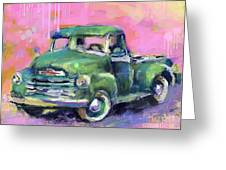 Old Chevy Chevrolet Pickup Truck On A Street Greeting Card by Svetlana Novikova
