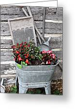 Old Fashion Elements With Flowers Greeting Card by Linda Phelps