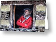 Old Man In Window Greeting Card by Randy Steele