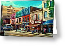 Old Montreal Schwartzs Deli Plateau Montreal City Scenes Greeting Card by Carole Spandau