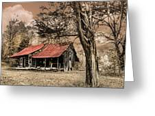 Old Mountain Cabin Greeting Card by Debra and Dave Vanderlaan