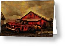 Old Red Truck And Barn Greeting Card by Bill Cannon