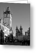 Old Town Square Greeting Card by Keiko Richter