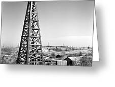 Old Wooden Derrick Greeting Card by Larry Keahey