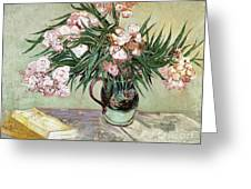 Oleanders And Books Greeting Card by Vincent van Gogh
