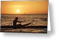 One Man Canoe Greeting Card by Sri Maiava Rusden - Printscapes