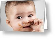 One Messy Baby Boy Sucking His Thumb Greeting Card by Oleksiy Maksymenko