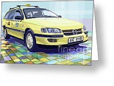 Opel Omega A Caravan Prague Taxi Greeting Card by Yuriy  Shevchuk