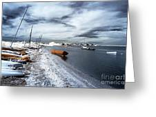 Orange Boat In The Water Greeting Card by John Rizzuto