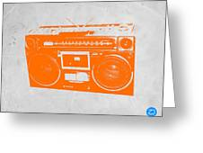 Orange Boombox Greeting Card by Naxart Studio