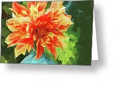 Orange Dahlia - Square Greeting Card by Jai Johnson