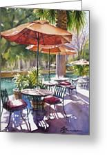 Orange Umbrellas Greeting Card by Sue Zimmermann
