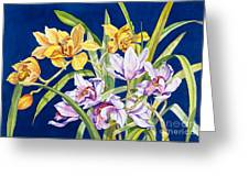 Orchids In Blue Greeting Card by Lucy Arnold