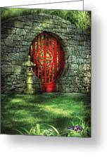 Orient - Door - The Moon Gate Greeting Card by Mike Savad