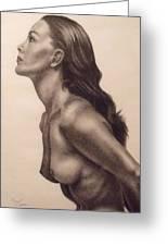 Original Charcoal Nude Female Profile Study Greeting Card by Neal Luea