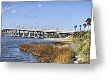 Ormond Beach Bridge Greeting Card by Deborah Benoit