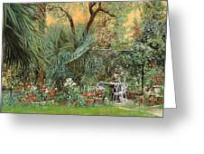 Our Little Garden Greeting Card by Guido Borelli