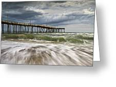 Outer Banks Nc Avon Pier Cape Hatteras - Fortitude Greeting Card by Dave Allen